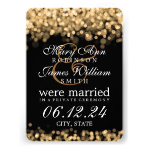Marriage / Elopement Gold Lights Invitations