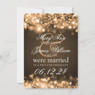 Marriage Elopement Sparkling Lights Gold Announcement