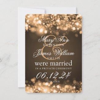 Marriage Elopement Sparkling Lights Gold Announcement