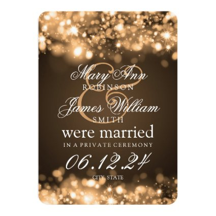 Marriage Elopement Sparkling Lights Gold 4.5x6.25 Paper Invitation Card