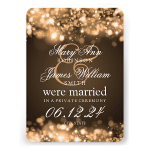 Marriage Elopement Sparkling Lights Gold Invite