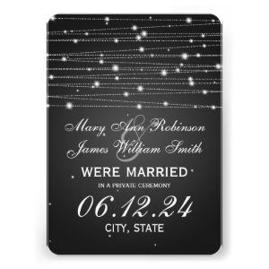 Marriage / Elopement Sparkling Lines Black Personalized Announcement