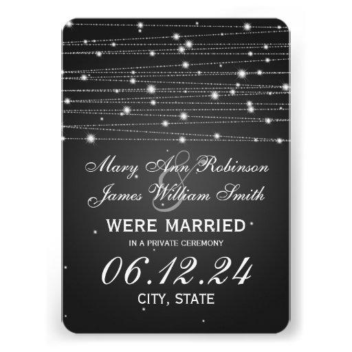 Marriage / Elopement Sparkling Lines Black Personalized Announcement
