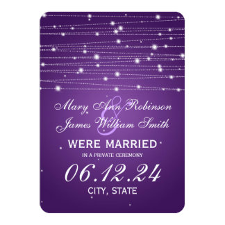 Marriage / Elopement Sparkling Lines Purple Card