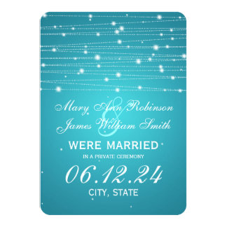 Marriage / Elopement Sparkling Lines Turquoise Card