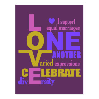 Marriage Equality / One Love custom postcard