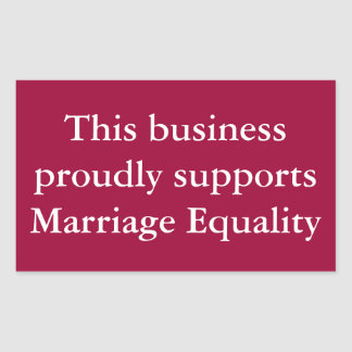 Marriage Equality Support (Customize the colors) Rectangular Sticker