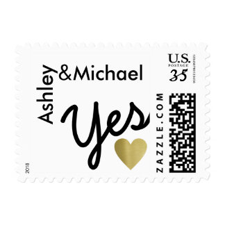 marriage ... faux gold wedding yes postage