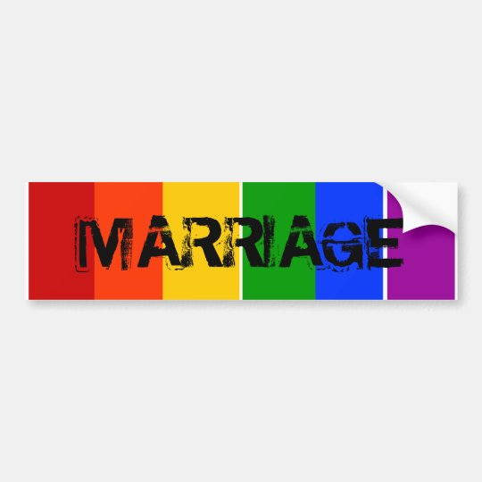 MARRIAGE GAY LGBT RAINBOW BUMPER STICKER