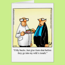 "Marriage Humor ""Glue Them Shut"" Greeting Card"