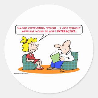 marriage interactive classic round sticker