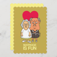 Marriage is fun - grumpy old couple cartoon brown card