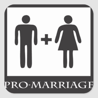 Marriage is only between one man and one woman square sticker