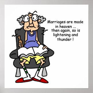 Marriage, Lightning, Thunder Humor Poster