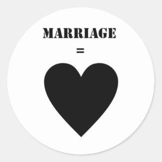 Marriage = Love Classic Round Sticker
