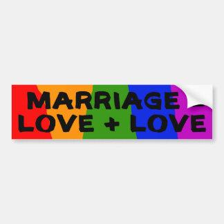 Marriage = Love + Love Sticker Car Bumper Sticker