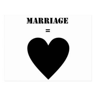 Marriage = Love Postcard