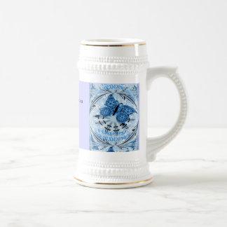 Marriage memories; Butterfly Blue 18 Oz Beer Stein