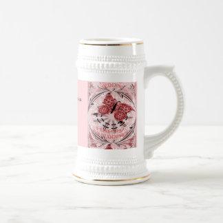 Marriage memories; Butterfly Dusty Pink 18 Oz Beer Stein