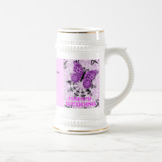 Marriage memories; Butterfly Pink a 18 Oz Beer Stein