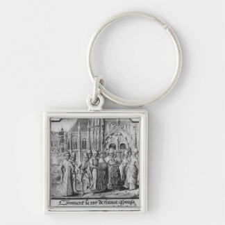 Marriage of Charles VI  King of France Silver-Colored Square Keychain