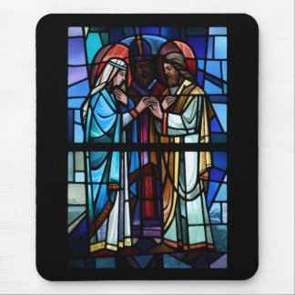 Marriage of Mary and Saint Joseph Stained Glass Mouse Pad