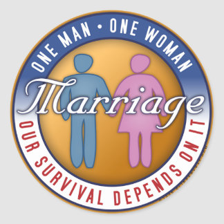 Marriage One Man One Woman Sticker