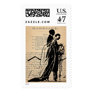 Marriage Poem by Longfellow Bride Groom Silhouette Postage