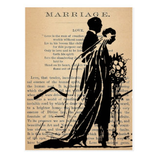 Marriage Poem by Longfellow Bride Groom Silhouette Postcard