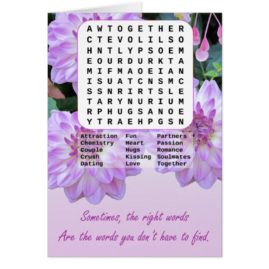 Marriage Proposal Find A Word Card