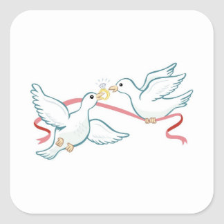 Marriage Propsal Doves Square Sticker