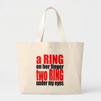 marriage reality ring finger eyes joke romance cou large tote bag