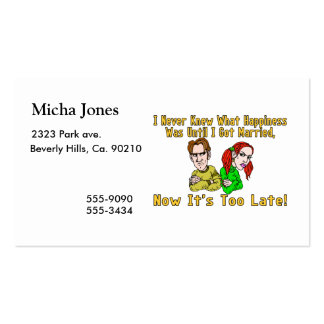 Marriage Ruined Happiness Double-Sided Standard Business Cards (Pack Of 100)