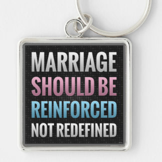 Marriage Should Be Reinforced Silver-Colored Square Keychain