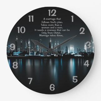"""""""MARRIAGE TAKES THREE"""" LARGE ROUND WALL CLOCK"""