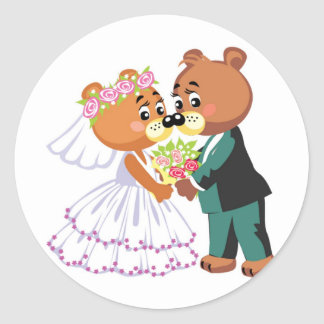 Marriage teddy bears kissing classic round sticker