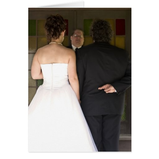 Marriage with Crossed Fingers Greeting Card