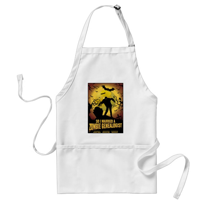 Married A Zombie Genealogist Adult Apron