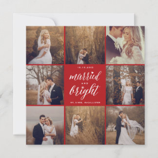 Married And Bright 8 Photo Collage Modern Wedding Holiday Card