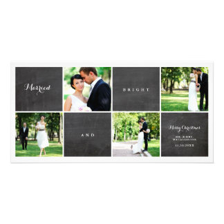 Married And Bright Chalkboard Photo Collage Card