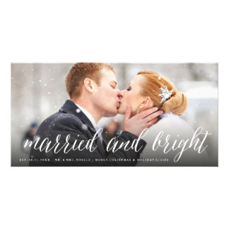 Married And Bright Christmas Holiday Photo Card