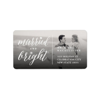 Married And Bright Christmas Photo Address Labels