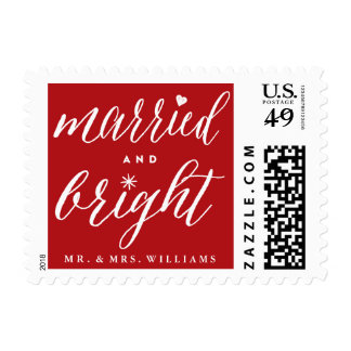 Married and Bright First Christmas Holiday Stamp