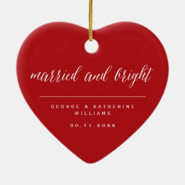 Married And Bright Holiday Wedding Photo Christmas Ceramic Ornament