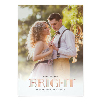 MARRIED AND BRIGHT photo christmas greeting card