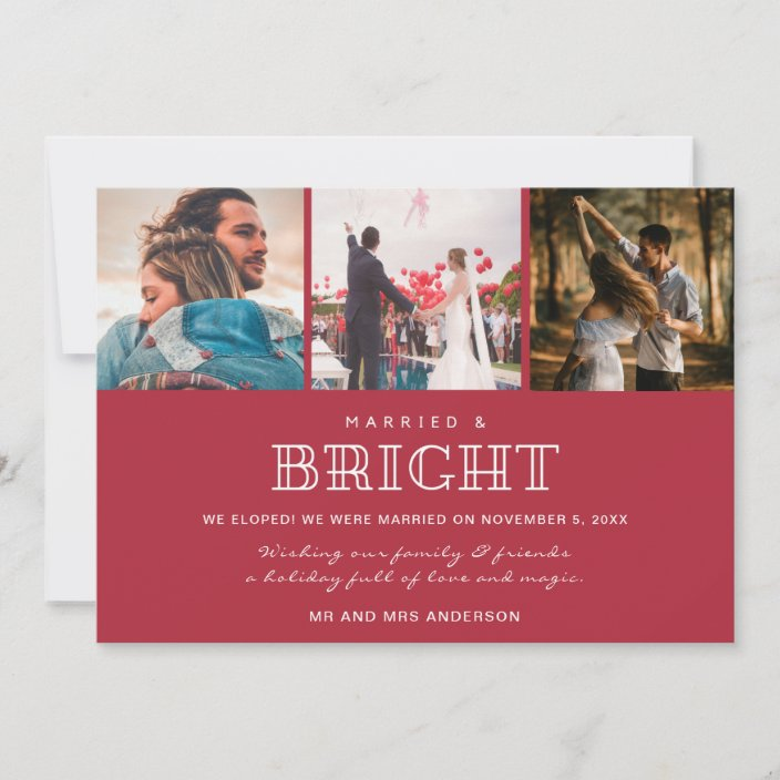 Married And Bright We Eloped Christmas Card Zazzle Com