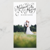 Married and Merry Black Hand Lettered Holiday
