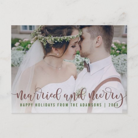 Married and Merry Calligraphy   Newlywed Photo Holiday Postcard