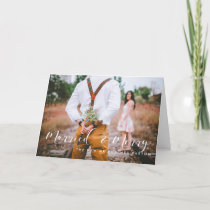 Married and Merry elegant white font Holiday Card