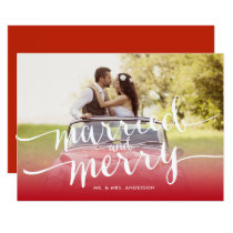 Married and Merry First Christmas Holiday Photo Invitation